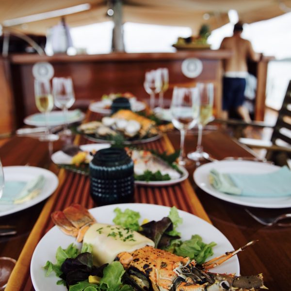 Fresh seafood lunch on the main deck