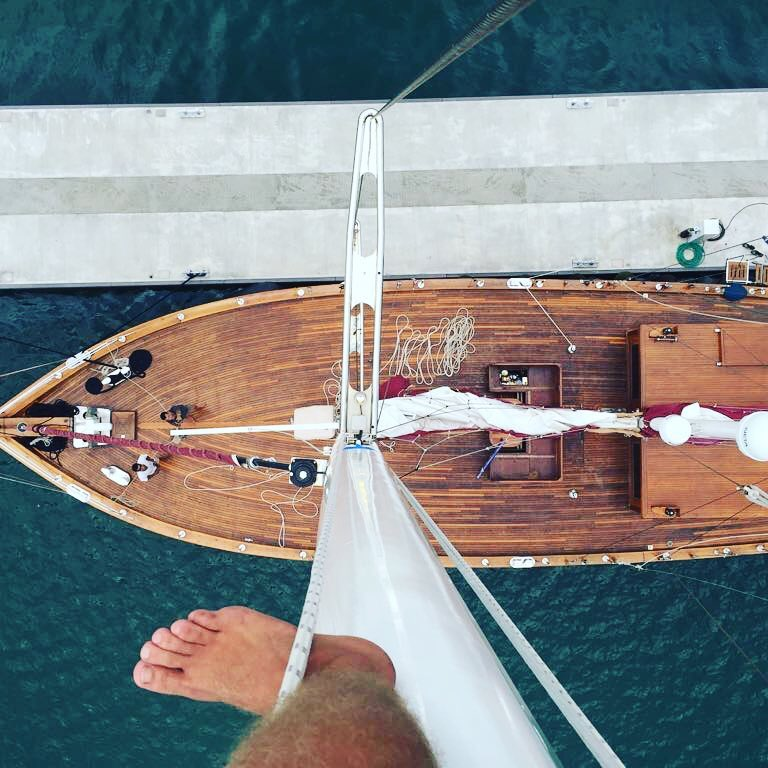 On top of the mast of the Orient Pearl